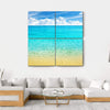 Summer Beach With Clear Water And Blue Cloudy Sky Multi Panel Canvas Wall Art 4 Square / Small / Gallery Wrap Tiaracle