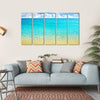 Summer Beach With Clear Water And Blue Cloudy Sky Multi Panel Canvas Wall Art 5 Horizontal / Small / Gallery Wrap Tiaracle