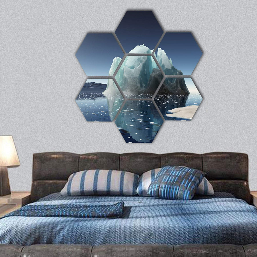 Summer In Antarctica Winter Hexagonal Canvas Wall Art 1 Hexa / Small / Gallery Wrap Tiaracle