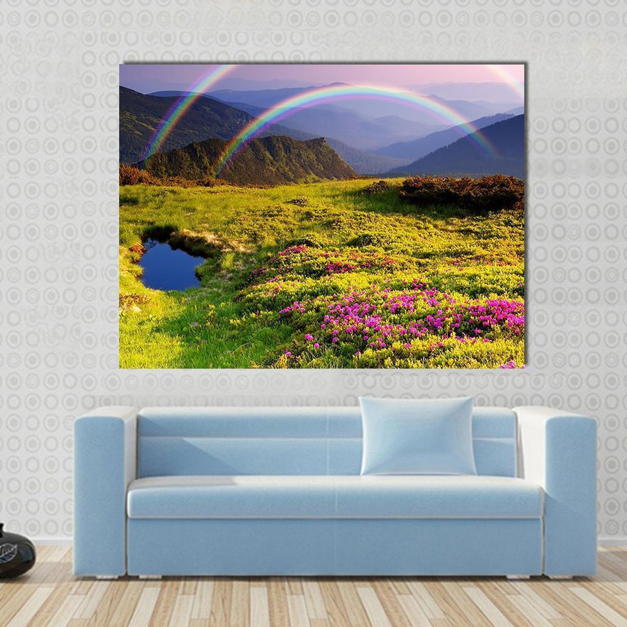Summer Landscape In Mountains With Flowers, A Rainbow And Lake Multi Panel Canvas Wall Art 4 Square / Small / Gallery Wrap Tiaracle