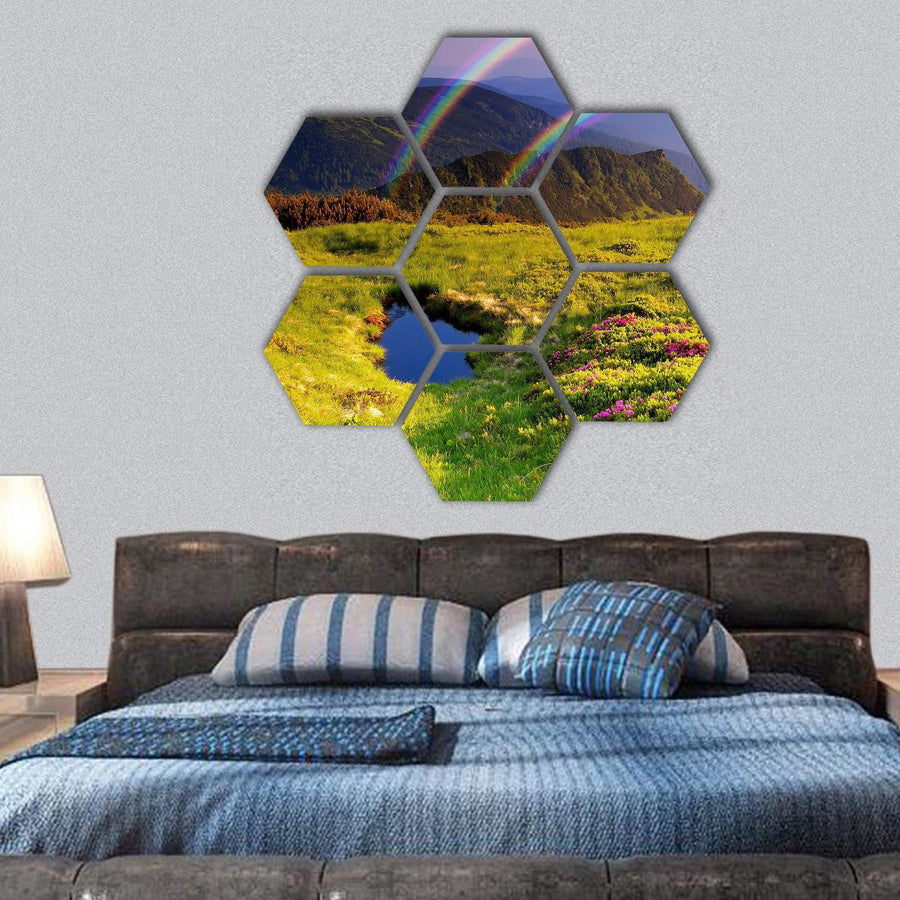 Summer Landscape In Mountains With Flowers, Rainbow And Lake Hexagonal Canvas Wall Art 1 Hexa / Small / Gallery Wrap Tiaracle
