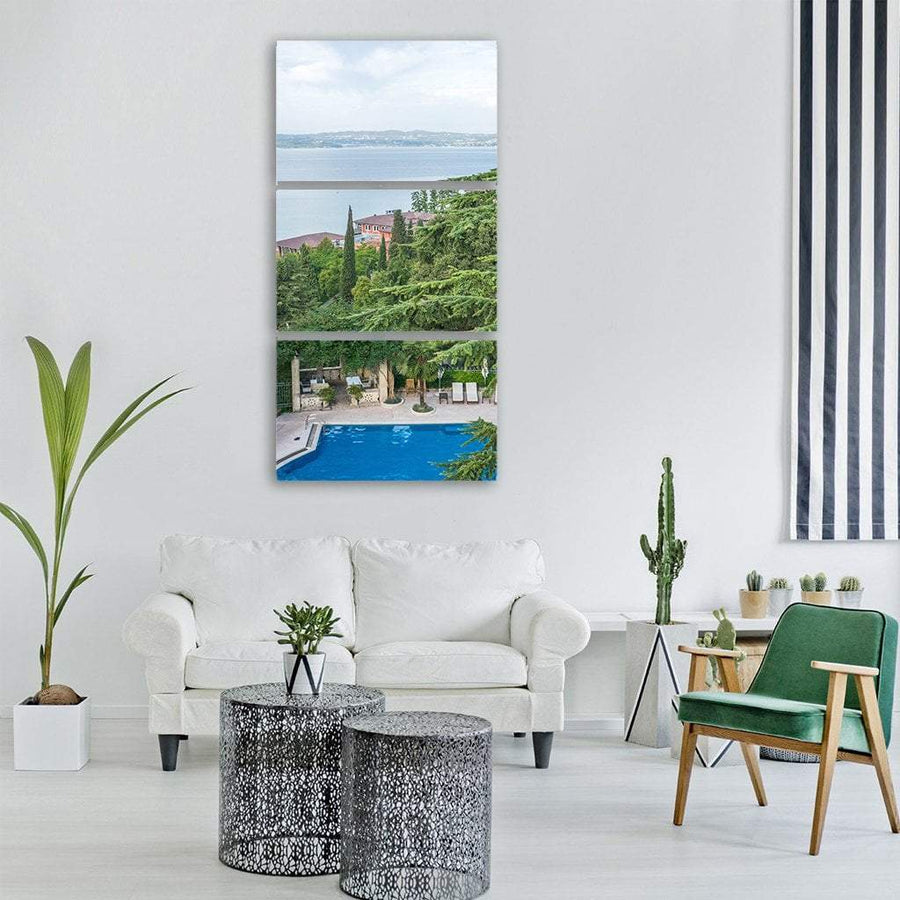 Summer View Of Lake Garda In Italy Vertical Canvas Wall Art 1 Vertical / Small / Gallery Wrap Tiaracle