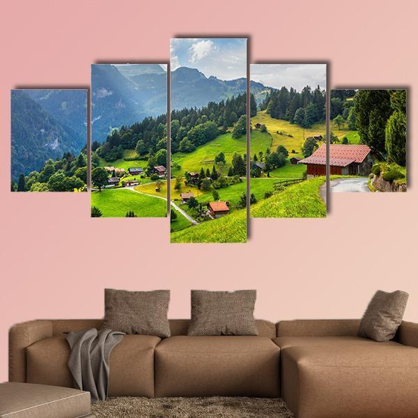 Summer View Of Wengen Village Multi Panel Canvas Wall Art 3 Pieces / Medium / Canvas Tiaracle
