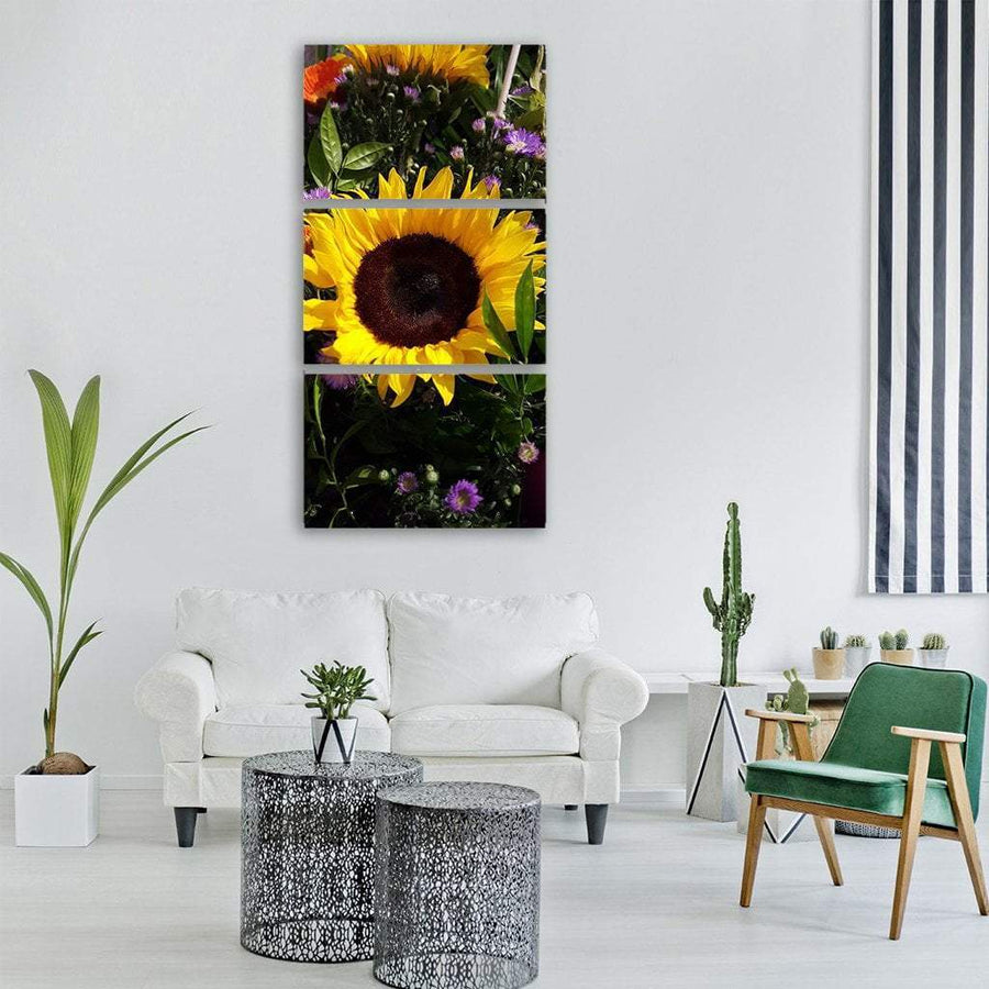 Sun Flower In Spring Vertical Canvas Wall Art 1 Vertical / Small / Gallery Wrap Tiaracle