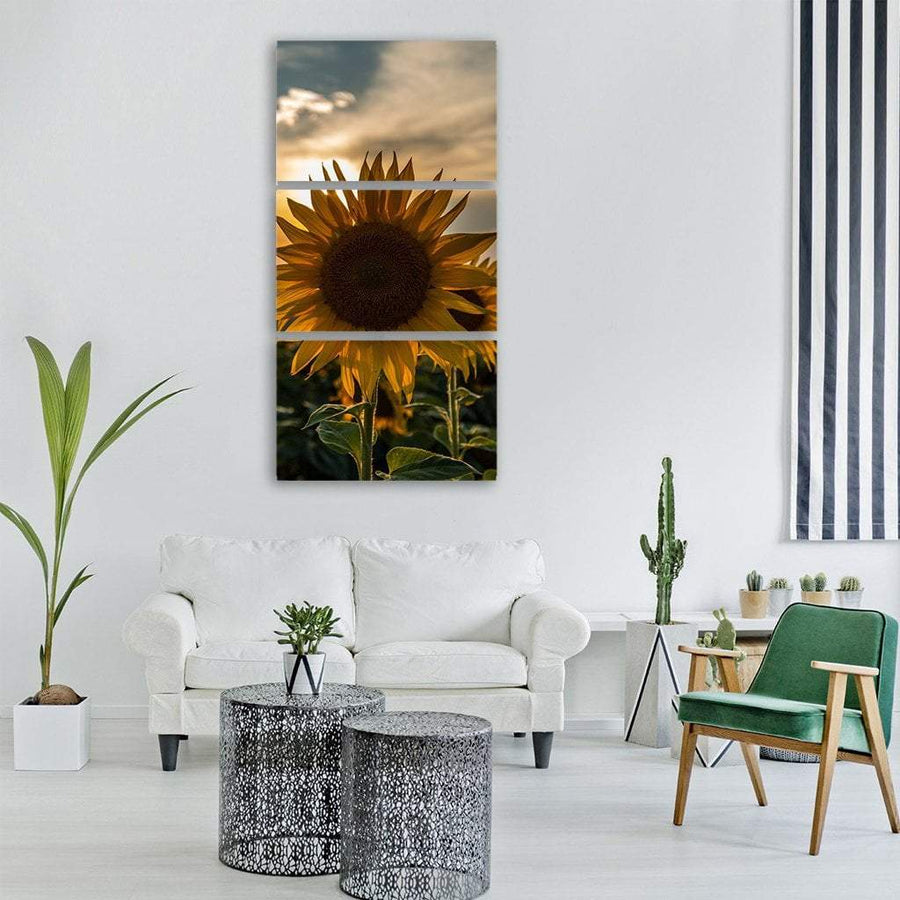 Sunflower At Sunset Vertical Canvas Wall Art 1 Vertical / Small / Gallery Wrap Tiaracle