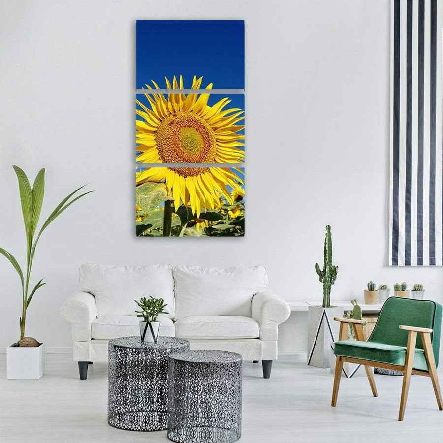 Sunflower In Summer Vertical Canvas Wall Art 1 Vertical / Small / Gallery Wrap Tiaracle