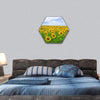 Sunflowers Field In The Blue Sky Hexagonal Canvas Wall Art 1 Hexa / Small / Gallery Wrap Tiaracle