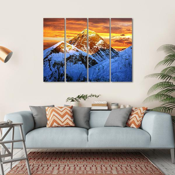 Sunlight On Everest Multi Panel Canvas Wall Art-1 Piece-Small-Gallery Wrap-Tiaracle
