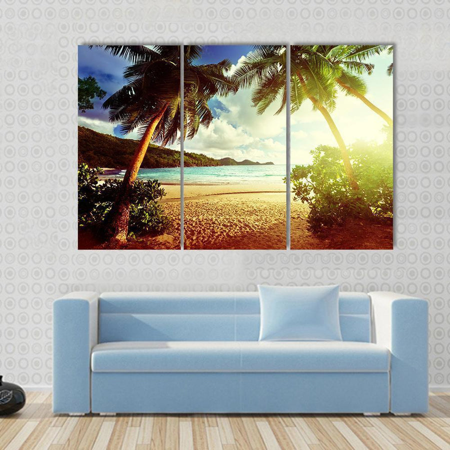 Sunny Day On Green Beach Multi Panel Canvas Wall Art 3 Pieces / Small / Canvas Tiaracle