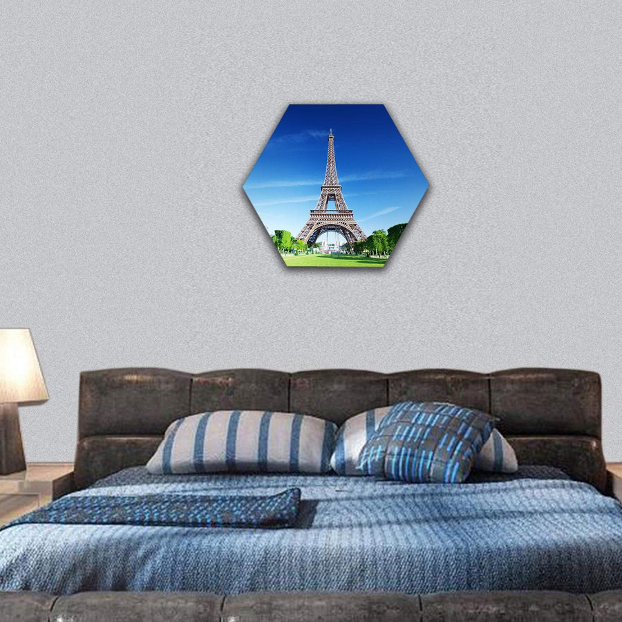 Sunny Morning And Eiffel Tower Hexagonal Canvas Wall Art 7 Hexa / Small / Gallery Wrap Tiaracle