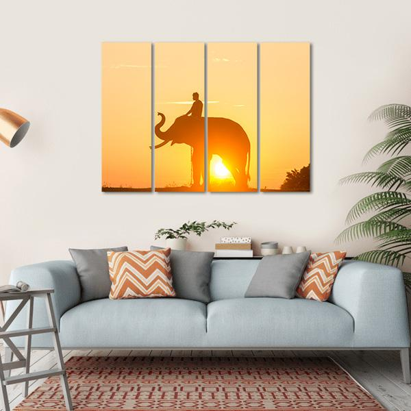 Sunrise Action Of Thai Elephant Canvas Wall Art-1 Piece-Small-Gallery Wrap-Tiaracle