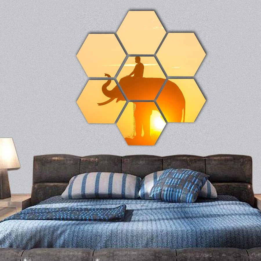 Sunrise Action Of Thai Elephant Hexagonal Canvas Wall Art 1 Hexa / Small / Gallery Wrap Tiaracle