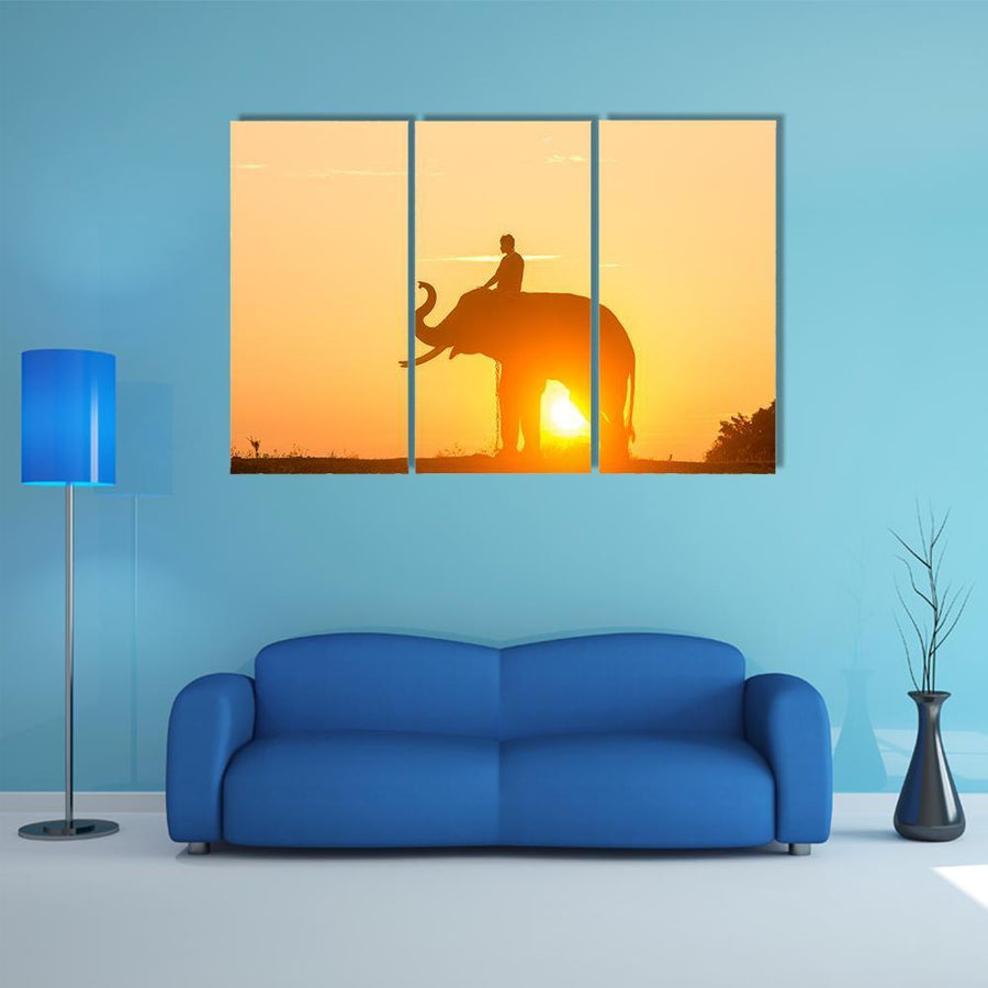 Sunrise Action Of Thai Elephant Multi Panel Canvas Wall Art 1 Piece / Medium / Canvas Tiaracle