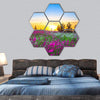 Sunrise And Flowers Scenery Hexagonal Canvas Wall Art 7 Hexa / Small / Gallery Wrap Tiaracle