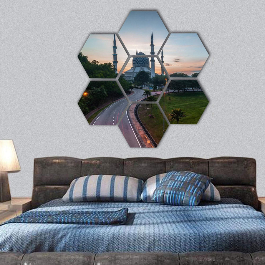 Sunrise At Blue Mosque Shah Alam, Malaysia Hexagonal Canvas Wall Art 1 Hexa / Small / Gallery Wrap Tiaracle