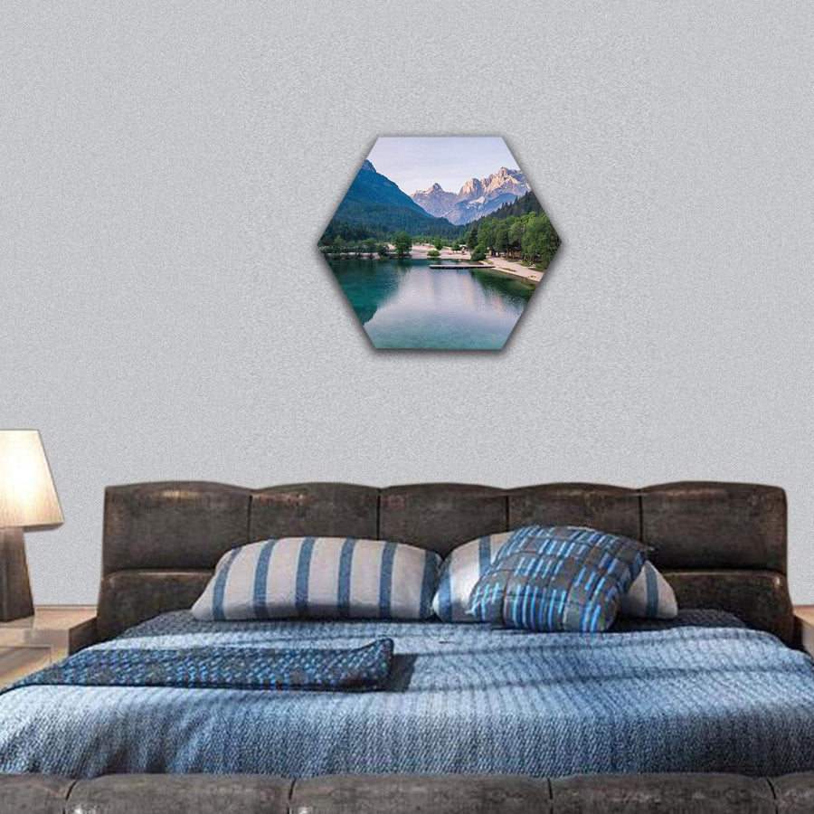 Sunrise At Lake Jasna With Mounatins Hexagonal Canvas Wall Art 7 Hexa / Small / Gallery Wrap Tiaracle