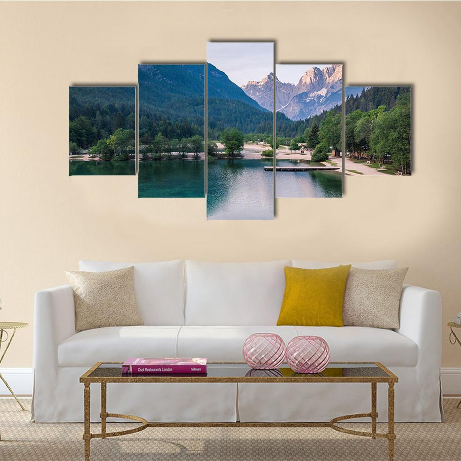 Sunrise At Lake Jasna With Mounatins Multi Panel Canvas Wall Art 3 Pieces / Medium / Canvas Tiaracle