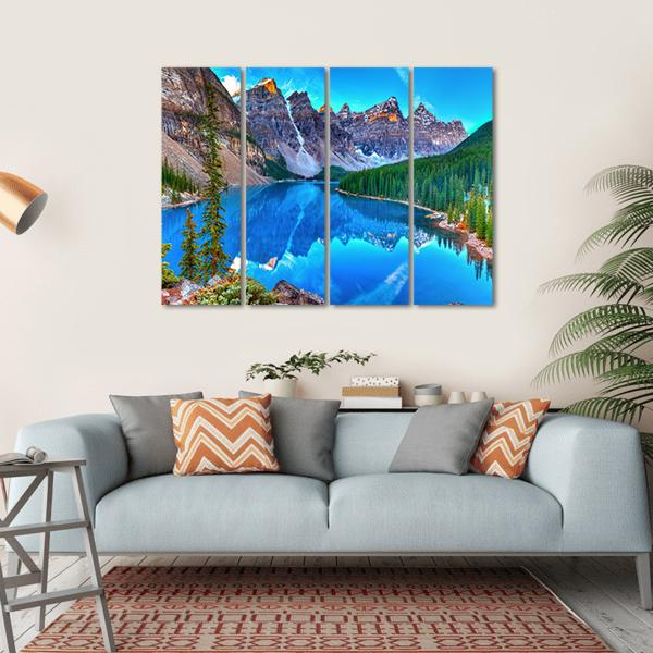 Sunrise At Moraine Lake Multi Panel Canvas Wall Art 1 Piece / Small / Gallery Wrap Tiaracle