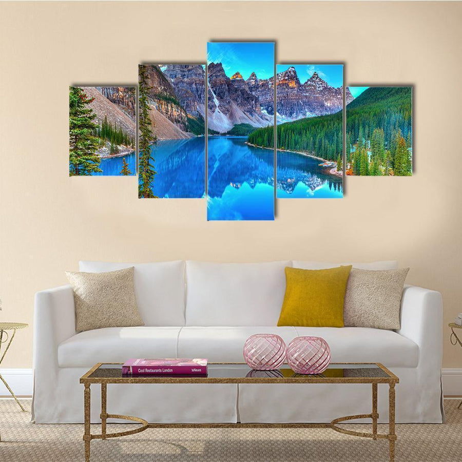 Sunrise In Moraine Lake Canvas Panel Painting Tiaracle