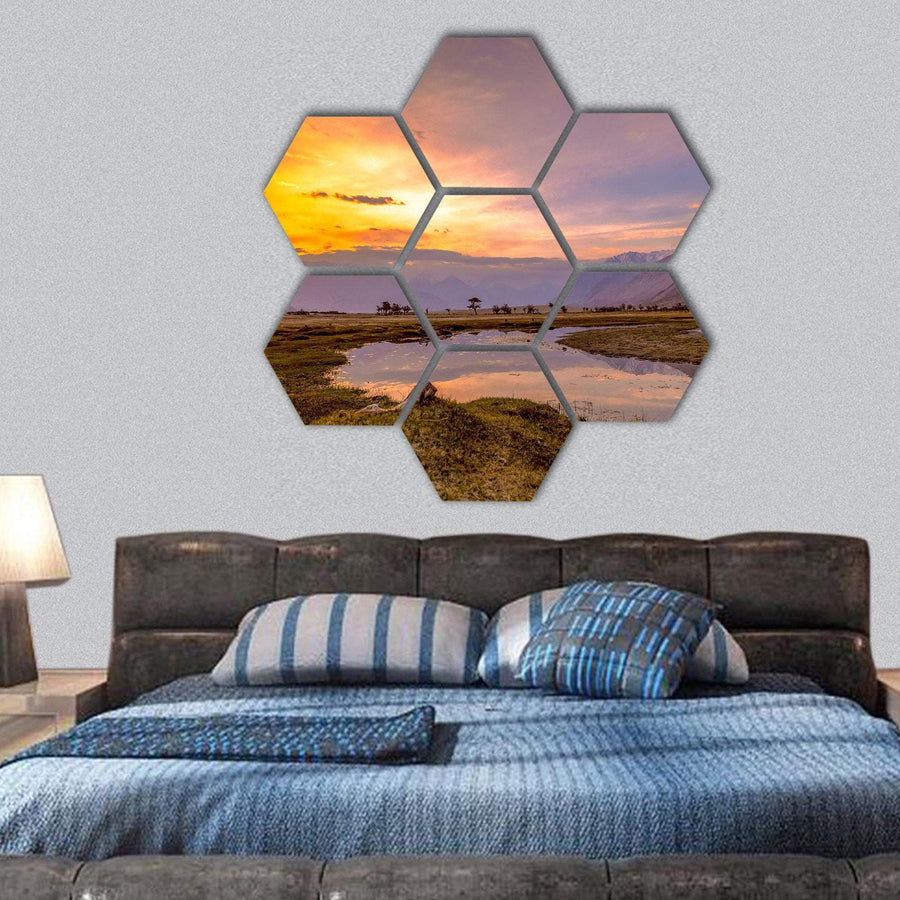 Sunrise At Nubra Valley Hexagonal Canvas Wall Art 1 Hexa / Small / Gallery Wrap Tiaracle