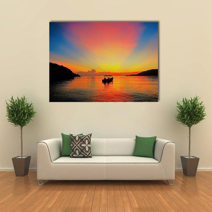 Sunrise At Tropical Beach Canvas Wall Art-4 Horizontal-Small-Gallery Wrap-Tiaracle