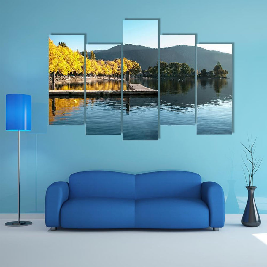 Sunrise At Wapato Resort On Lake Chelan Multi Panel Canvas Wall Art 4 Pieces / Medium / Canvas Tiaracle