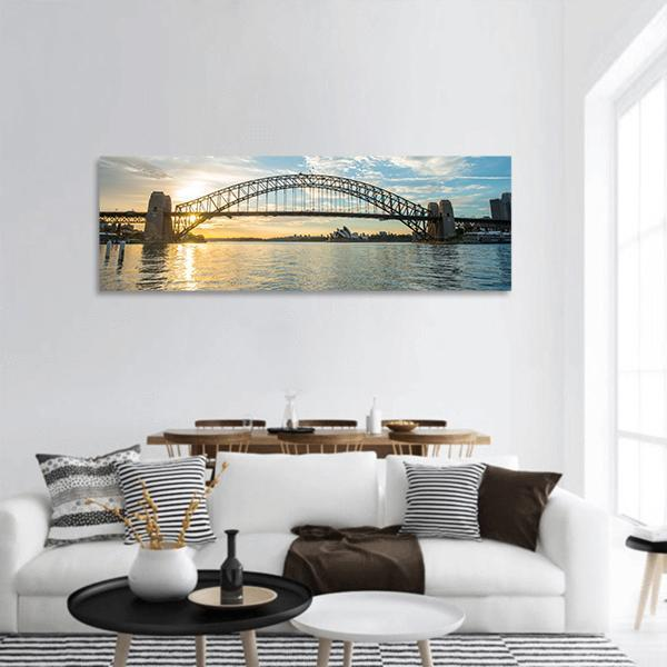 Sunrise From Sydney Harbor Bridge Panoramic Canvas Wall Art 3 Piece / Small Tiaracle