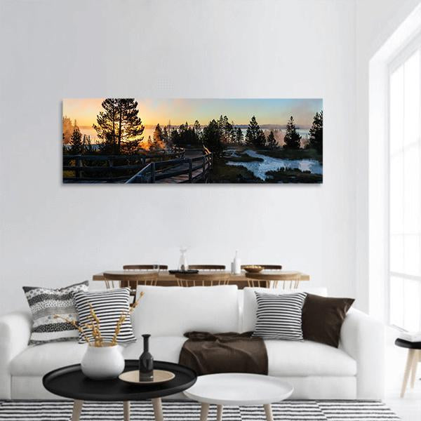 Sunrise In Yellowstone National Park Panoramic Canvas Wall Art 3 Piece / Small Tiaracle