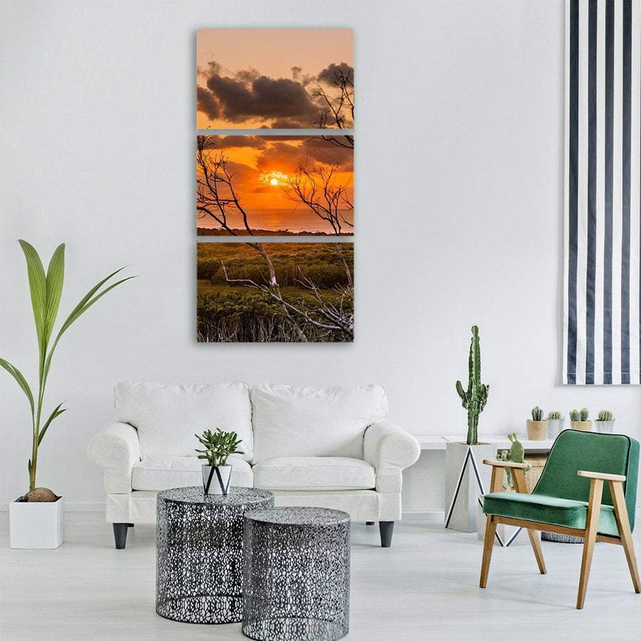 Sunrise Landscape Vertical Canvas Wall Art 1 Vertical / Small / Gallery Wrap Tiaracle
