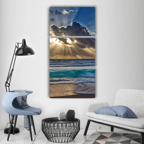Sunrise On Beach Sea Vertical Canvas Wall Art 1 Vertical / Small / Gallery Wrap Tiaracle
