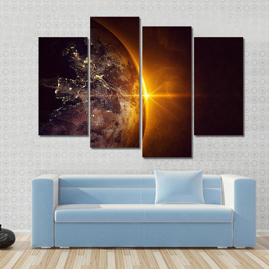 Sunrise On Planet Earth Canvas Panel Painting Tiaracle