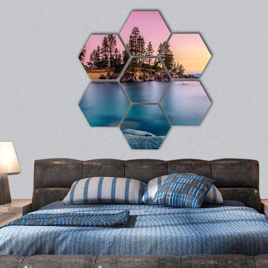 Sunrise Over Lake Tahoe Hexagonal Canvas Wall Art 1 Hexa / Small / Gallery Wrap Tiaracle
