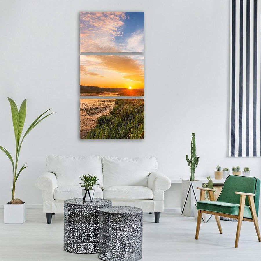 Sunrise Over River Landscape Vertical Canvas Wall Art 1 Vertical / Small / Gallery Wrap Tiaracle