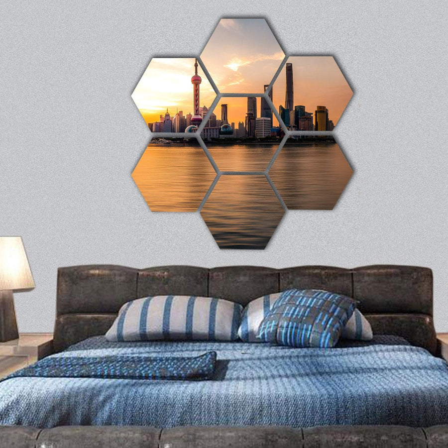 Sunrise Over Shanghai Bund Hexagonal Canvas Wall Art 1 Hexa / Small / Gallery Wrap Tiaracle