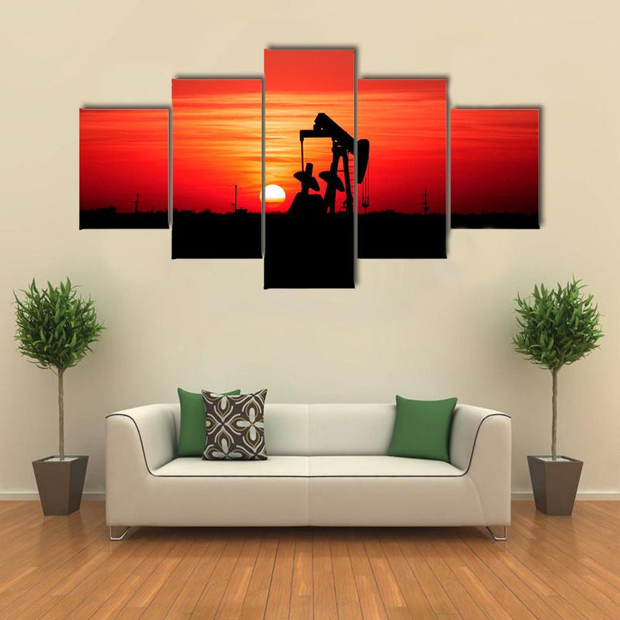 Sunset And Oilfield Pump Jack Multi Panel Canvas Wall Art 5 Pieces(A) / Medium / Canvas Tiaracle