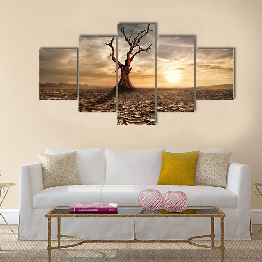 Lonely Dead Tree Under Dramatic Evening Sunset Sky At Drought Cracked Desert Landscape Canvas Panel Painting Tiaracle