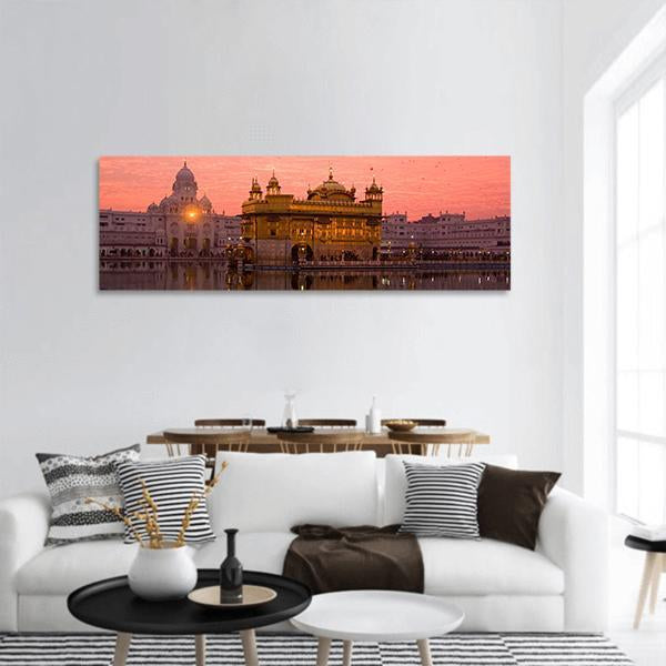 Sunset At Golden Temple In Amritsar India Panoramic Canvas Wall Art Tiaracle