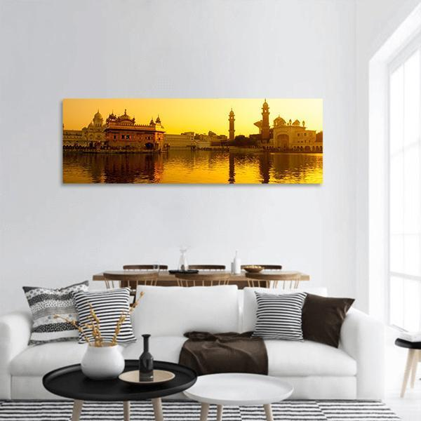 Sunset At Golden Temple In Amritsar Panoramic Canvas Wall Art 3 Piece / Small Tiaracle