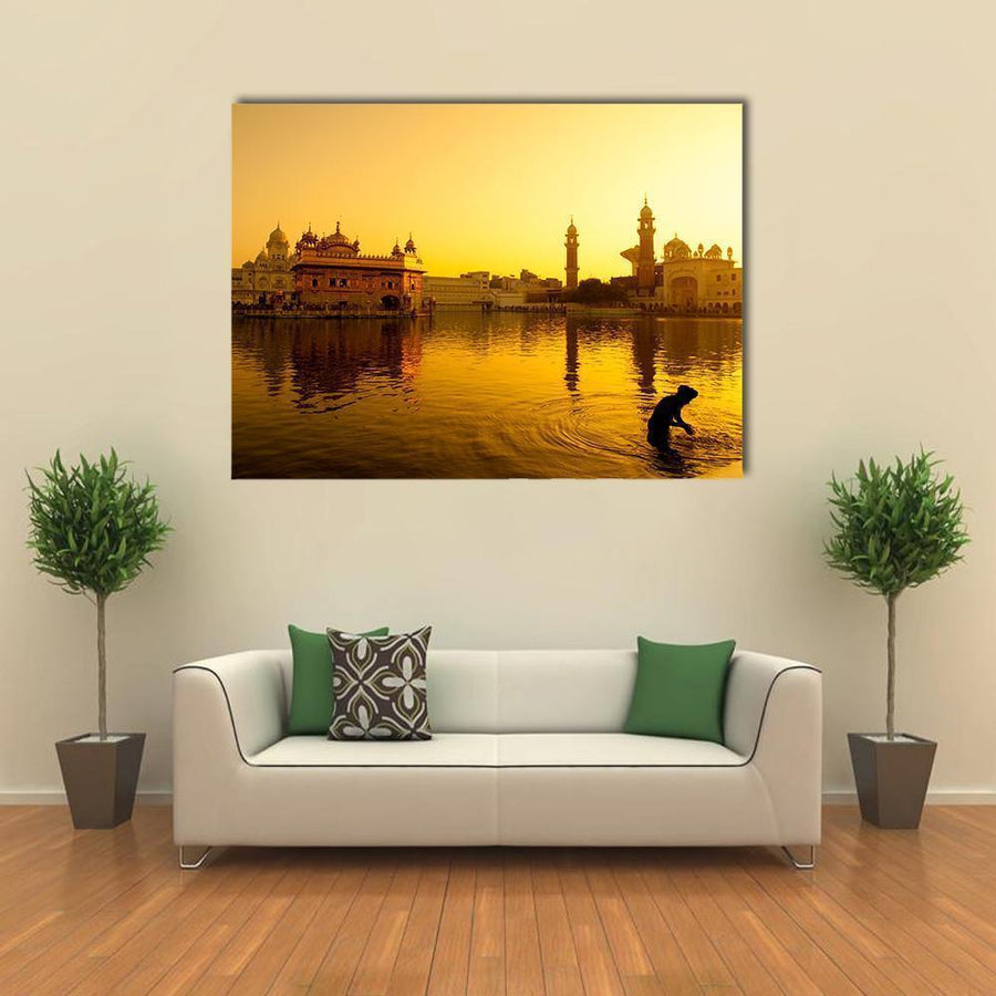 Sunset At Golden Temple In India Canvas Wall Art