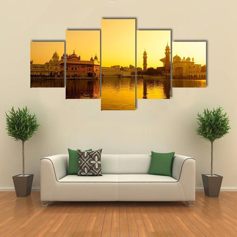 Sunset At Golden Temple In India Canvas Panel Painting Tiaracle