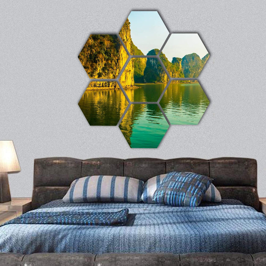 Sunset At Halong Bay In Vietnam Hexagonal Canvas Wall Art 1 Hexa / Small / Gallery Wrap Tiaracle