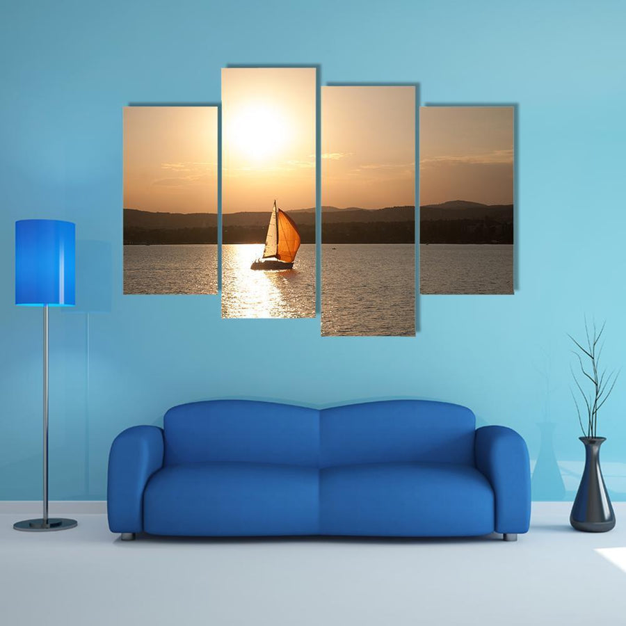 Sunset At Lake Balaton In Hungary Multi Panel Canvas Wall Art 1 Piece / Medium / Canvas Tiaracle