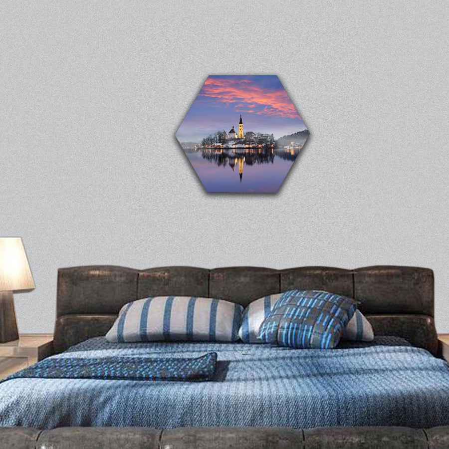 Lake Bled In Winter Hexagonal Canvas Wall Art-7 Hexa-Small-Gallery Wrap-Tiaracle