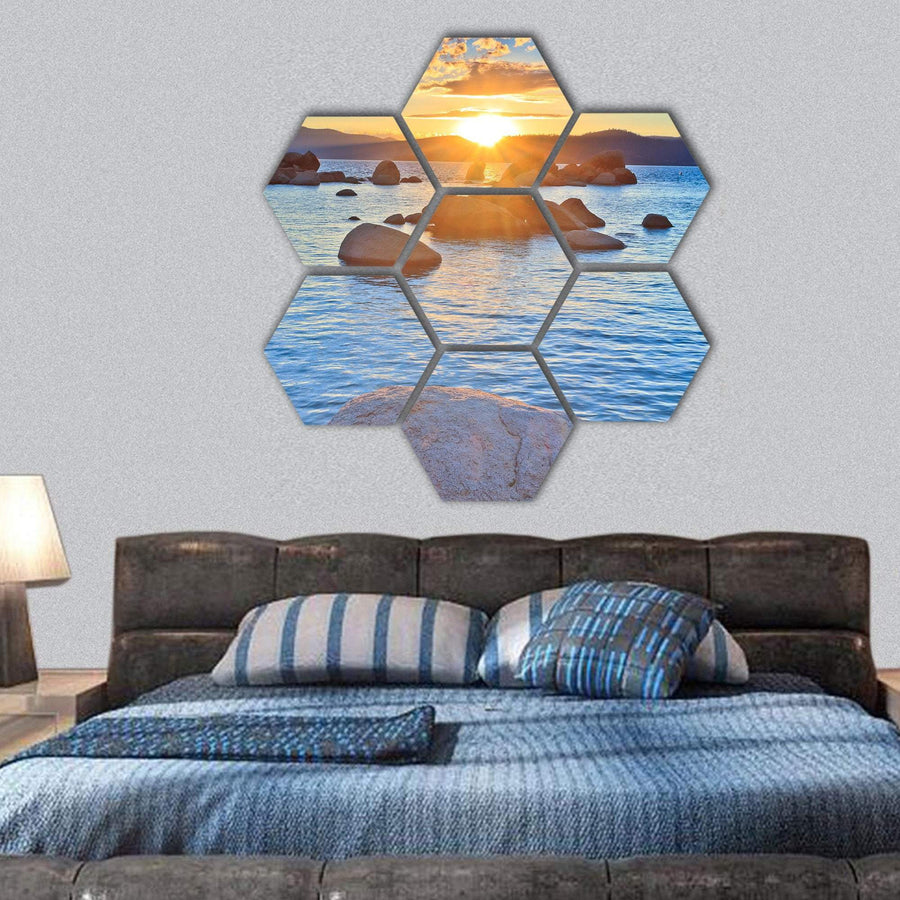 Sunset At Lake Tahoe Hexagonal Canvas Wall Art 1 Hexa / Small / Gallery Wrap Tiaracle
