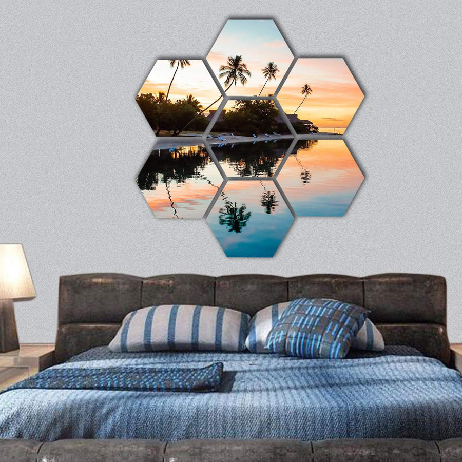 Sunset At Moorea In French Polynesia Hexagonal Canvas Wall Art 1 Hexa / Small / Gallery Wrap Tiaracle