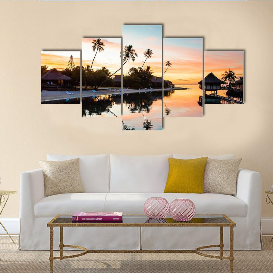 Sunset At Moorea In French Polynesia Canvas Panel Painting Tiaracle