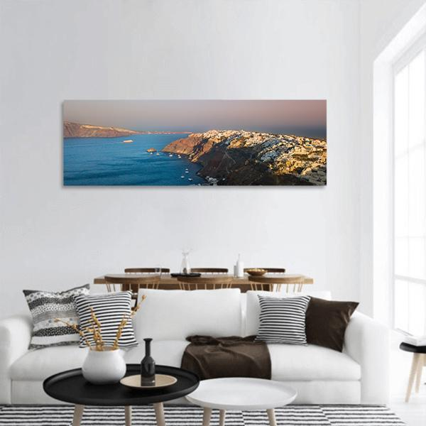 Sunset At Santorini In Oia Village Panoramic Canvas Wall Art 3 Piece / Small Tiaracle