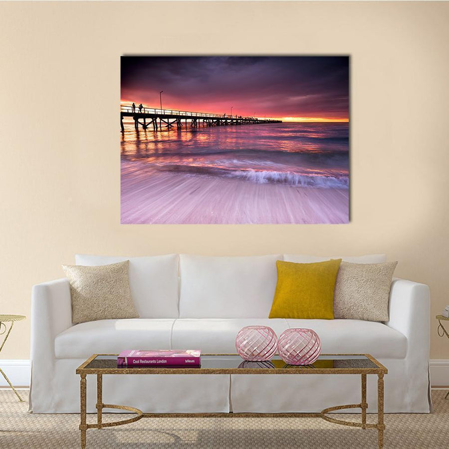 Sunset At Semaphore Beach Multi Panel Canvas Wall Art 4 Horizontal / Small / Gallery Wrap Tiaracle