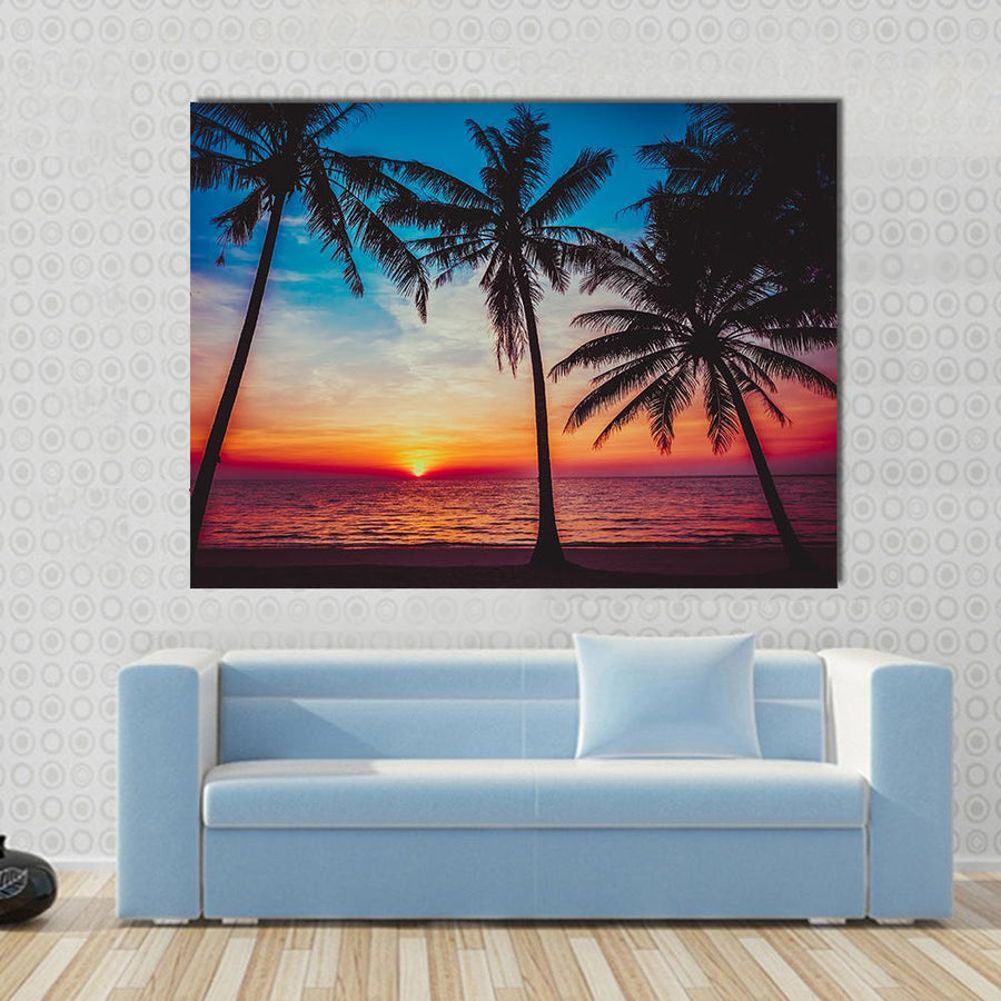 Sunset At Tropical Beach Canvas Wall Art-4 Horizontal-Small-Gallery Wrap-Tiaracle