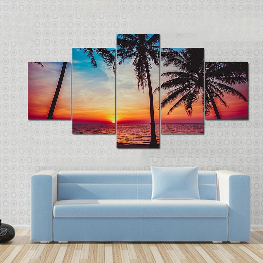 Beautiful Sunset Tropical Beach Canvas Panel Painting Tiaracle